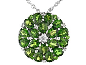 Green Chrome Diopside Rhodium Over Silver Pendant With Chain 6.66ctw