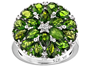 Green Chrome Diopside Rhodium Over Sterling Silver Ring 3.65ctw