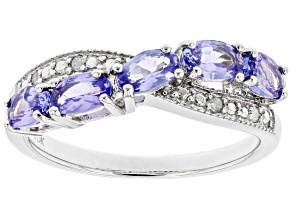 Blue Tanzanite Rhodium Over Sterling Silver Ring 0.97ctw