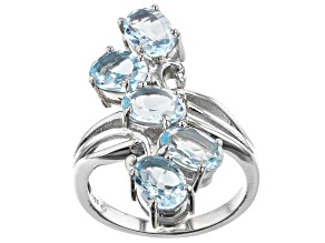 Sky Blue Topaz Rhodium Over Sterling Silver Ring 4.03ctw