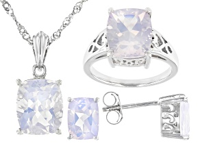 Blue Moon Quartz Rhodium Over Silver Jewelry Set 11.56ctw
