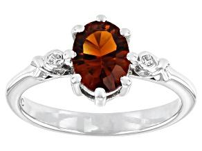 Orange Citrine Rhodium Over Sterling Silver Ring 0.96ctw