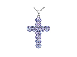 Blue Tanzanite Rhodium Over Sterling Silver Cross Pendant With Chain 5.46ctw