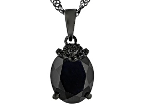 Black Spinel, Black Rhodium Over Sterling Silver Pendant With Chain 2.60ctw