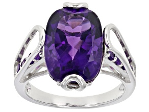 Purple Amethyst Rhodium Over Sterling Silver Ring 5.80ctw