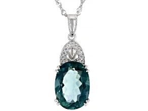 Teal Fluorite Rhodium Over Sterling Silver Pendant With Chain 6.50ctw