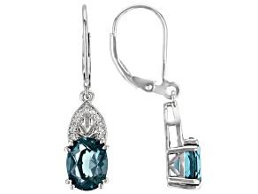 Teal Fluorite Rhodium Over Silver Dangle Earrings 4.00ctw