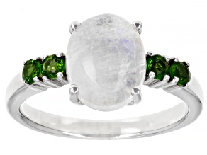White Rainbow Moonstone Chrome Diopside Rhodium Over Sterling Silver Ring 10x8mm