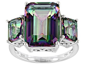 Multicolor Quartz Rhodium Over Sterling Silver 3-Stone Ring 7.64ctw