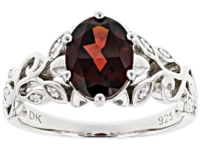 Red Garnet Rhodium Over Sterling Silver Solitaire Ring 2.13ct