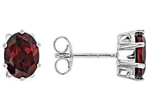 Red Garnet Rhodium Over Sterling Silver Stud Earrings 2.60ctw