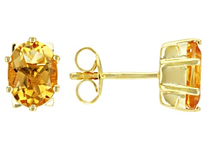 Yellow Citrine 18k Yellow Gold Over Sterling Silver Stud Earrings 2.21ctw