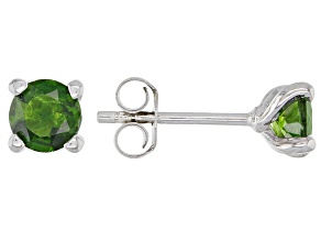 Chrome Diopside Rhodium Over Sterling Silver Stud Earrings 1.14ctw
