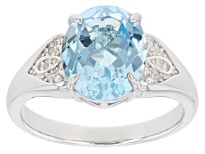 Sky Blue Topaz Rhodium Over Sterling Silver Ring 3.62ctw
