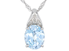 Sky Blue Topaz Rhodium Over Sterling Silver Pendant With Chain 3.61ctw