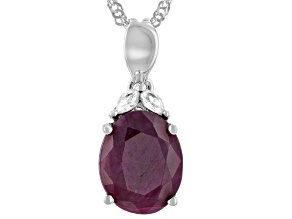 Red Indian Ruby Rhodium Over Sterling Silver Pendant With Chain 5.20ctw