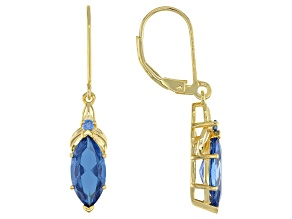 Blue Lab Created Spinel 18k Yellow Gold Over Sterling Silver Dangle Earrings 3.27ctw