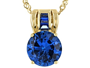 Blue Lab Created Spinel 18k Yellow Gold Over Sterling Silver Pendant With Chain 3.30ctw