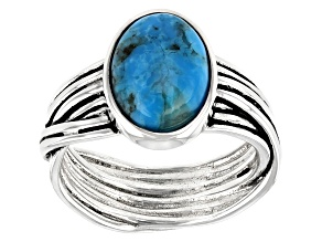 Blue Oval Turquoise Oxidized Sterling Silver Ring 12x8mm