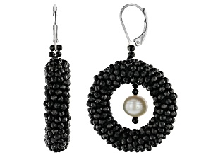 Black Spinel With Cultured Freshwater Pearl Rhodium Over Silver Earrings