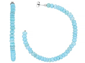 Blue Peruvian Opal Rhodium Over Sterling Silver Hoop Earrings
