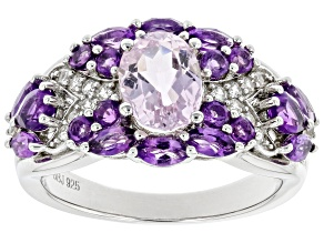 Pink Kunzite Rhodium Over Sterling Silver Ring 2.64ctw