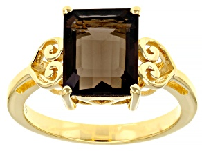 Brown Smoky Quartz 18K yellow Gold Over  Silver Solitaire Ring 3.30ct