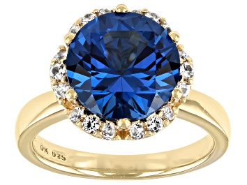 Picture of Blue Lab Created Spinel 18K Yellow Gold Over Sterling Silver Ring 3.99ctw