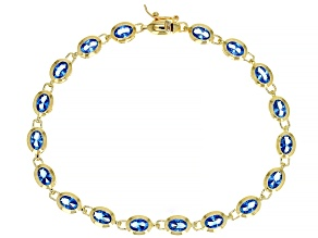 Blue Lab Created Spinel 18k Yellow Gold Over Sterling Silver Bracelet. 5.36ctw