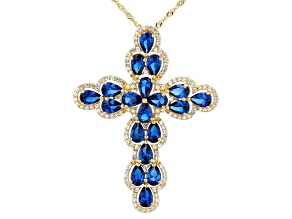 Blue Lab Created Spinel 18k Yellow Gold Over Silver Cross Pendant With Chain 8.22ctw