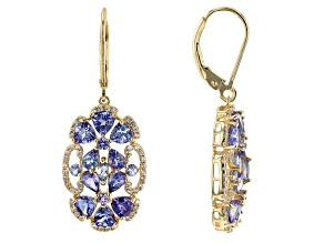 Blue Tanzanite 18k Yellow Gold Over Sterling Silver Dangle Earrings 4.53ctw