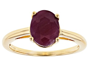 Red Ruby 18k Yellow Gold Over Sterling Silver Solitaire Ring 2.32ct