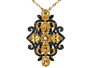Golden Citrine 18k Yellow Gold Over Silver Pendant With Chain 3.29ctw