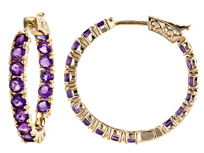 Purple Amethyst 18k Yellow Gold Over Sterling Silver Hoop Earrings 7.23ctw