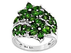Green Chrome Diopside Rhodium Over Sterling Silver Ring 3.30ctw