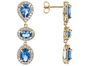 Blue Lab Created Spinel 18k Yellow Gold Over Sterling Silver Earrings 3.04ctw