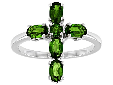 Green Chrome Diopside Rhodium Over Sterling Silver Cross Ring 1.22ctw