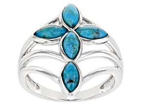 Blue Turquoise Rhodium Over Sterling Silver Cross Ring