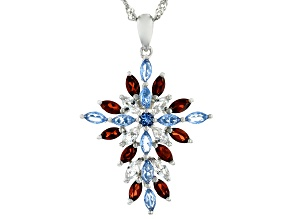 Blue Lab Created Spinel Rhodium Over Silver Pendant With Chain 2.03ctw