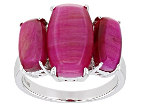 Pink Tiger's Eye Rhodium Over Sterling Silver Ring