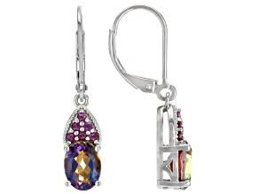Multi-Color Northern Lights(TM) Quartz and Rhodium Over Sterling Silver Dangle Earrings