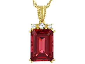 Red Lab Created Padparadscha Sapphire 18k Yellow Gold Over Sterling Silver Pendant Chain 7.45ctw