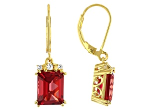 Red Lab Created Padparadscha Sapphire 18k Yellow Gold Over Silver Earrings 6.94ctw