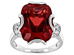 Red Lab Created Padparadscha Sapphire Rhodium Over Silver Ring 11.20ctw