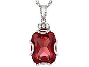 Red Lab Created Padparadscha Sapphire Rhodium Over silver Pendant Chain 11.13ctw