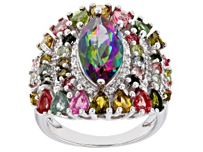 Green Mystic Topaz Rhodium Over Sterling Silver Ring 6.65ctw