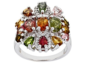 Multi-Tourmaline Rhodium Over Sterling Silver Ring 3.96ctw
