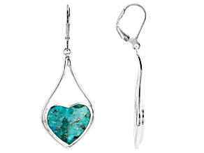 Blue Turquoise Sterling Silver Solitaire Dangle Earrings 6.25ctw