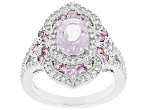 Pink Kunzite Rhodium Over Sterling Silver Ring. 2.45ctw