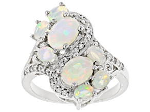 Multi-Color Ethiopian Opal Rhodium Over Sterling Silver Ring 1.73ctw